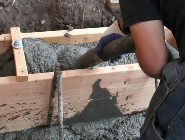 Concrete Being Pumped Into a Form
